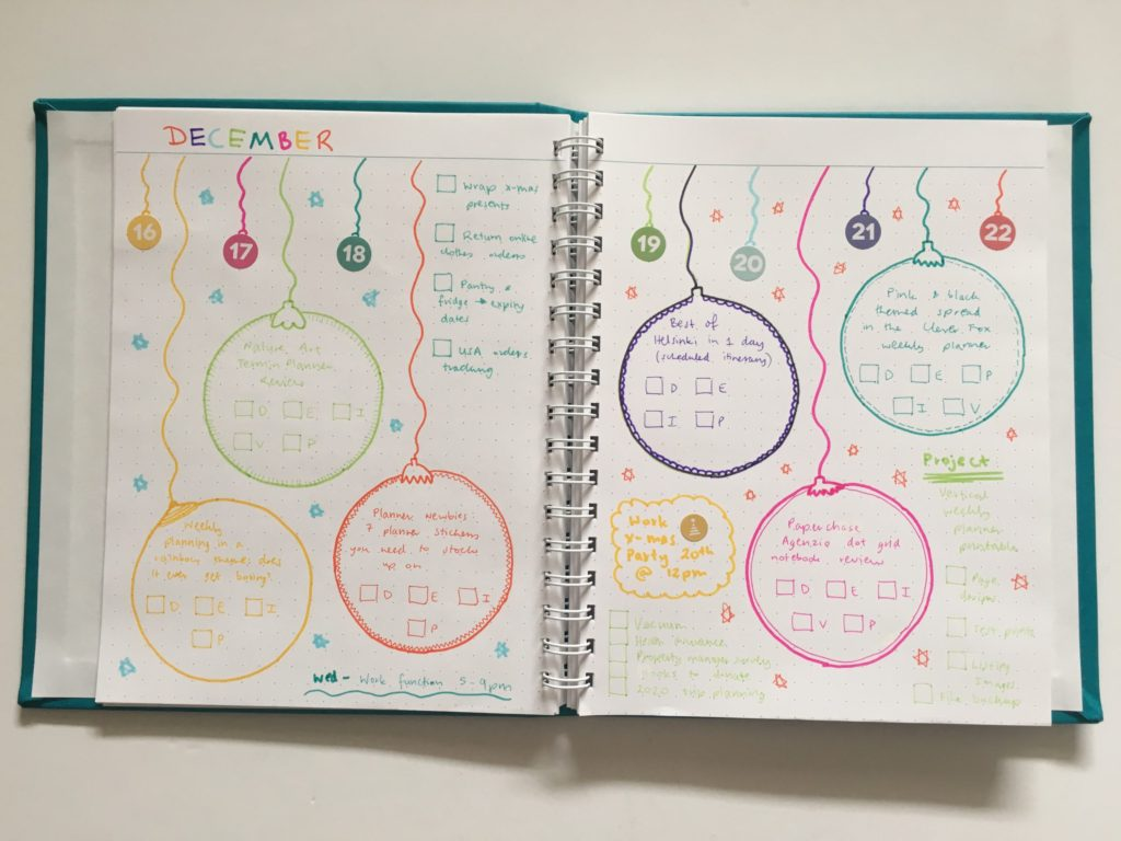 Christmas Baubles Themed Weekly Spread in my Custom Agendio Bullet Journal