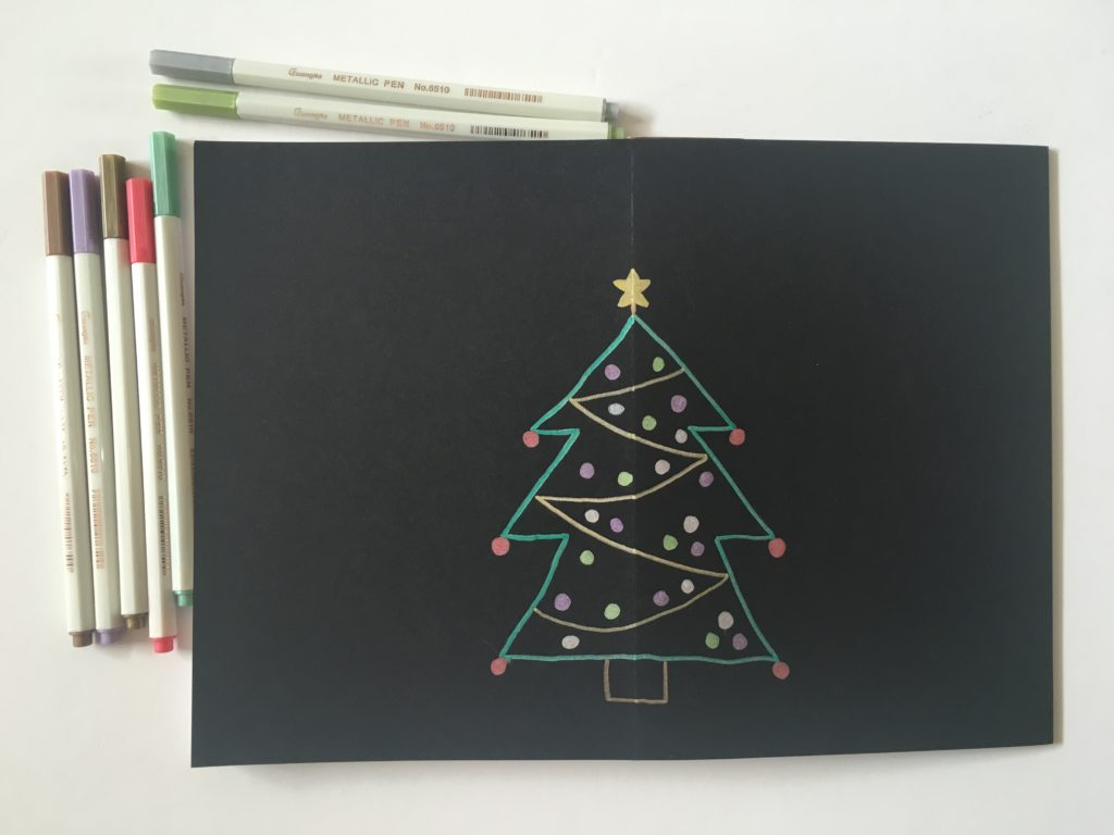 christmas tree weekly spread bullet journal layout ideas inspo black paper