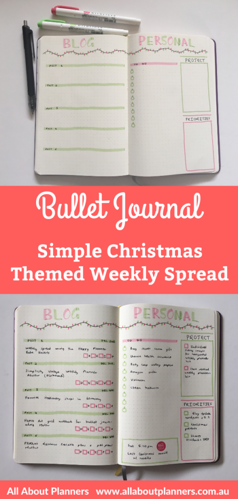 christmas weekly spread bullet journal simple quick easy red and green minimalist xmas bujo all about planners