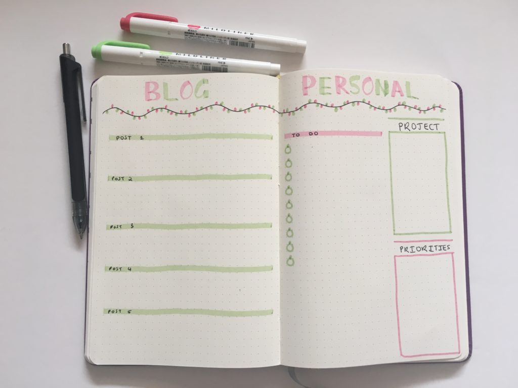 christmas weekly spread simple quick easy zebra mildliners lights green and red modena stationery dot grid notebook