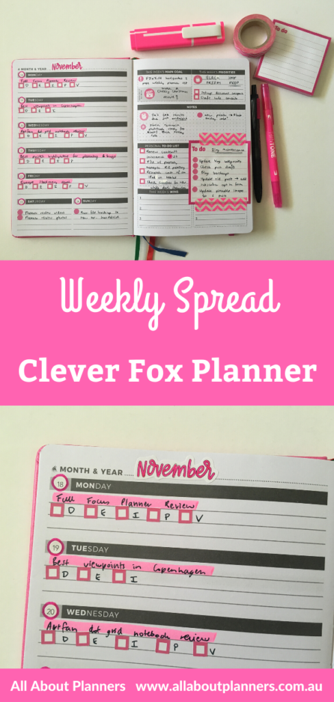 clever fox weekly planner spread black and pink theme planner stickers simple quick easy 52 planners all about planners