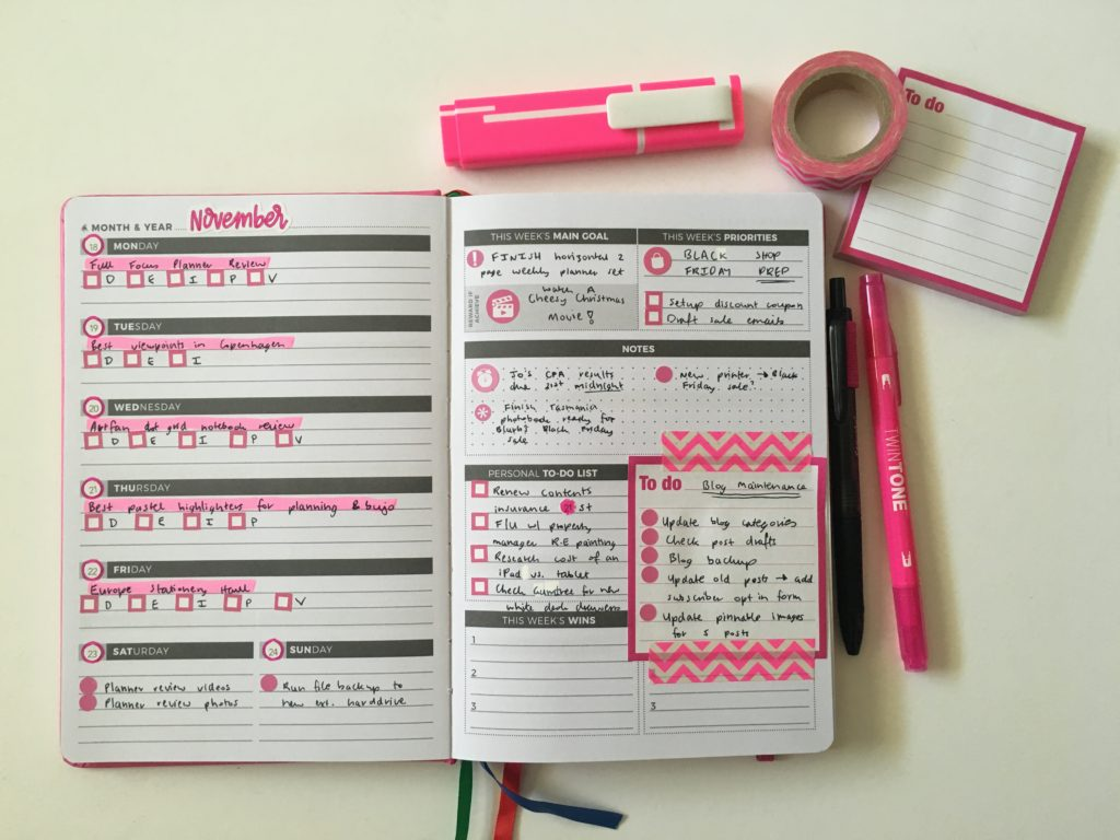 clever fox weekly planner spread pink and black simple quick easy decorating with planner pens washi tape stickers sticky note themed