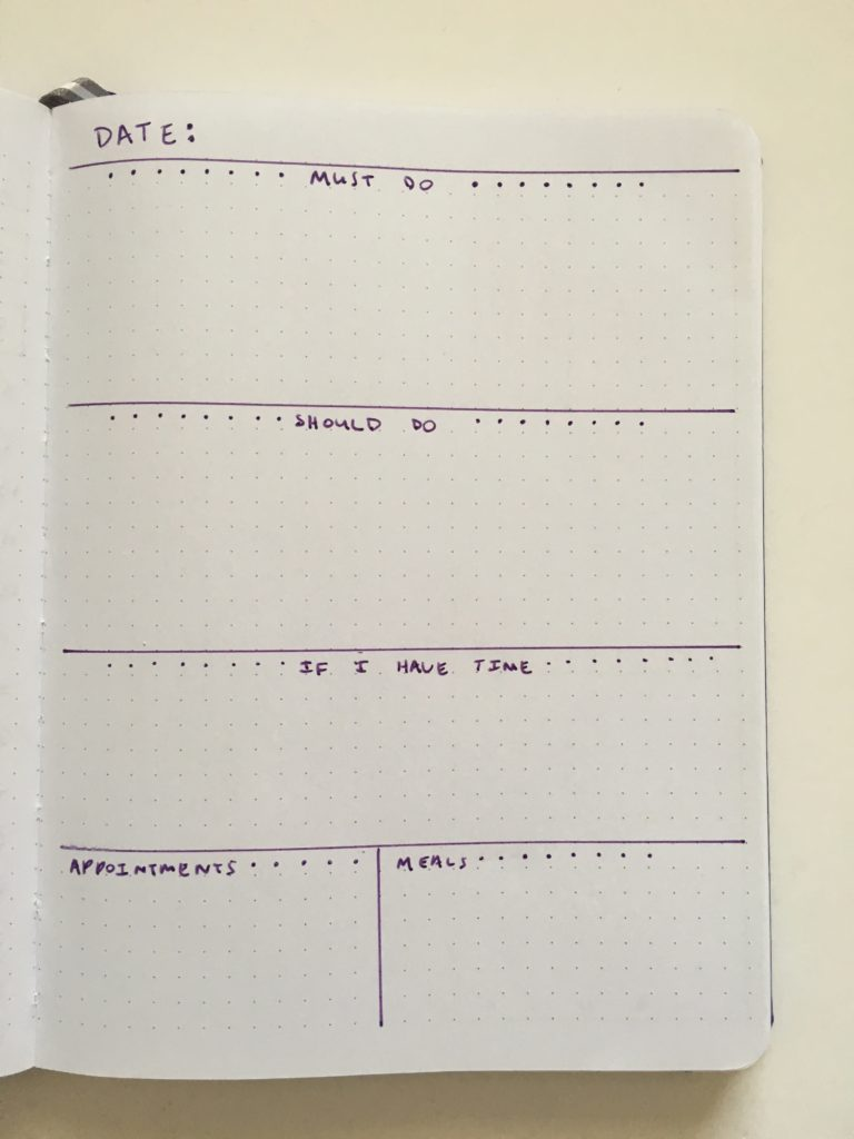 daily planner bullet journal no scheduling times to do task focused simple bujo layout artists loft notebook