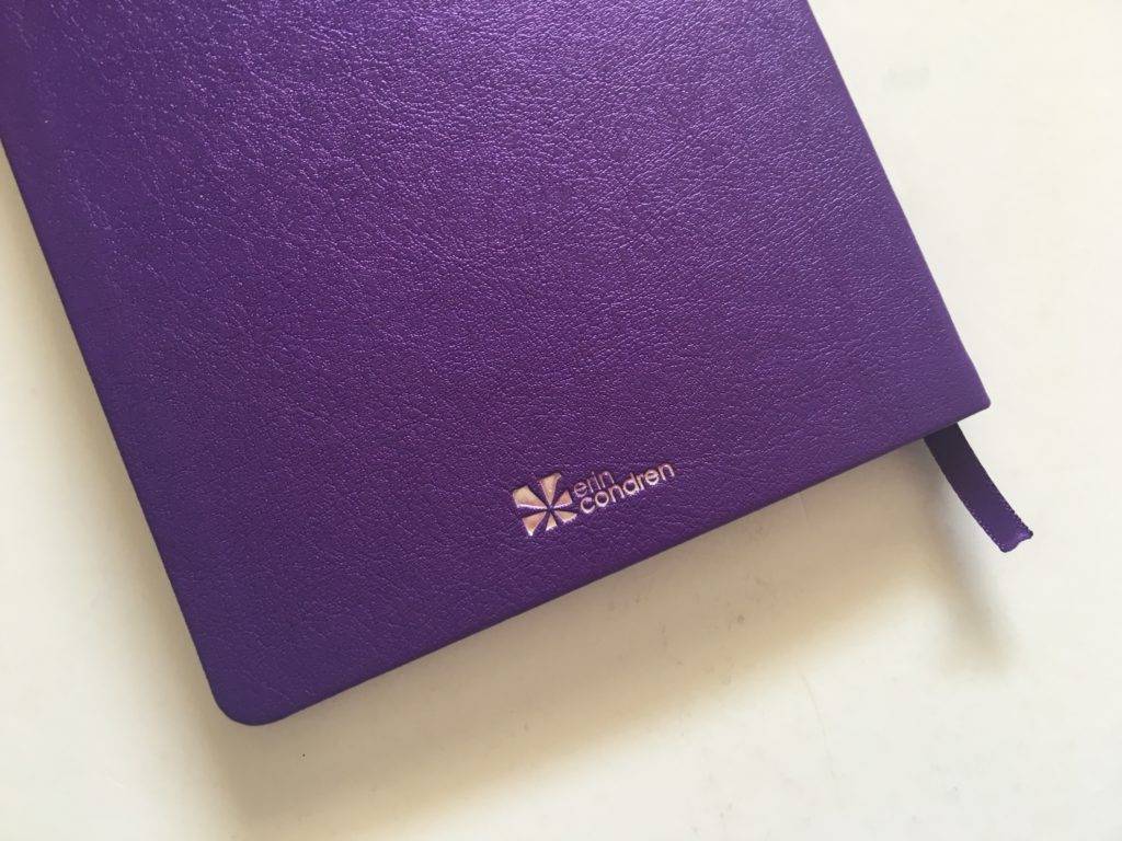 erin condren bullet journal notebook review 5 x 8 inches purple silver foil edging bright white paper purple cover