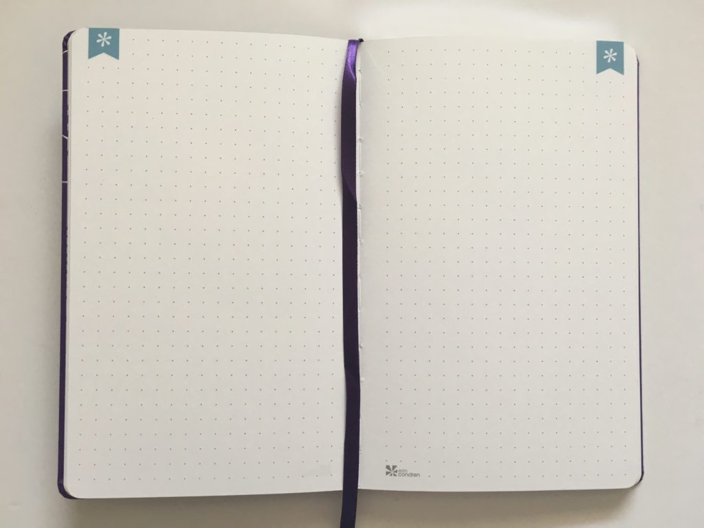 erin condren softbound notebook dot grid a5 page size bright white paper bookmark ribbon built in