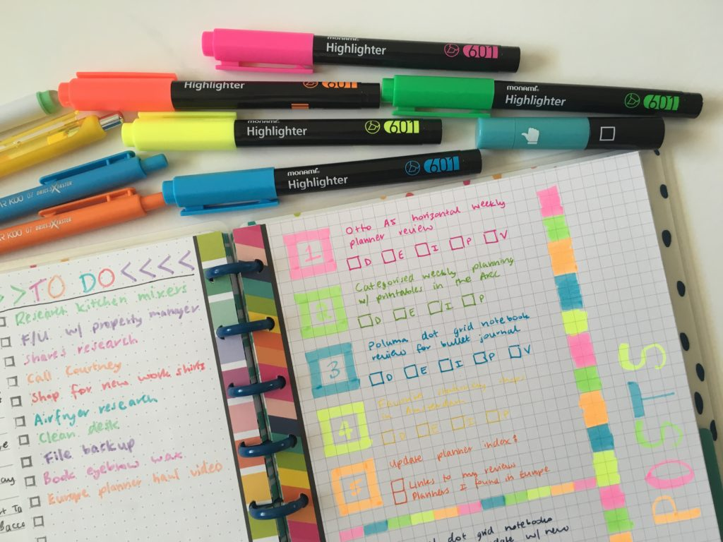 happy planner happy notes weekly spread rainbow colorful grid paper monami highlighters quick simple easy