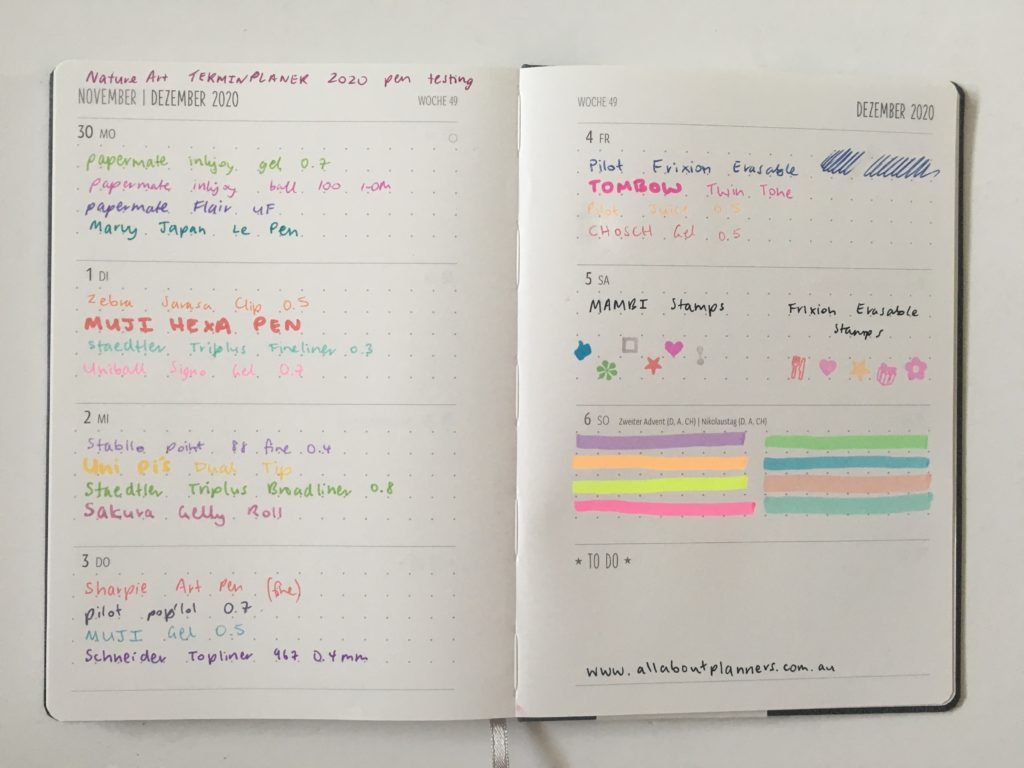 nature art termin planner review pen testing paper quality ghosting bleed through