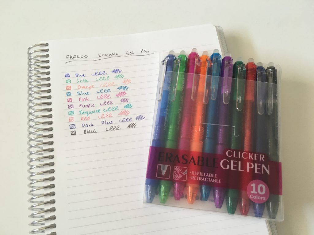 parkoo retractable erasable gel pens review pen swatches ghosting bleed through