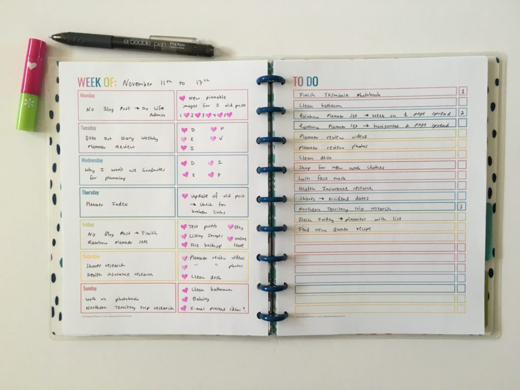 Weekly planning in a rainbow theme – does it ever get boring?