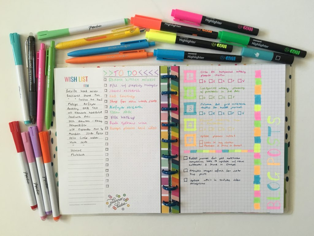 using the happy planner boss babe inserts refills rainbow half sheet focus top 3 dot grid rainbow stripe highlighters