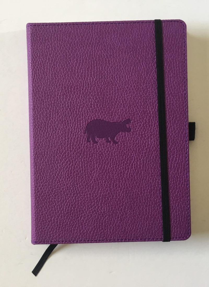 Dingbats dot grid notebook review bullet journal bujo smooth cream paper_01 purple cover hippo