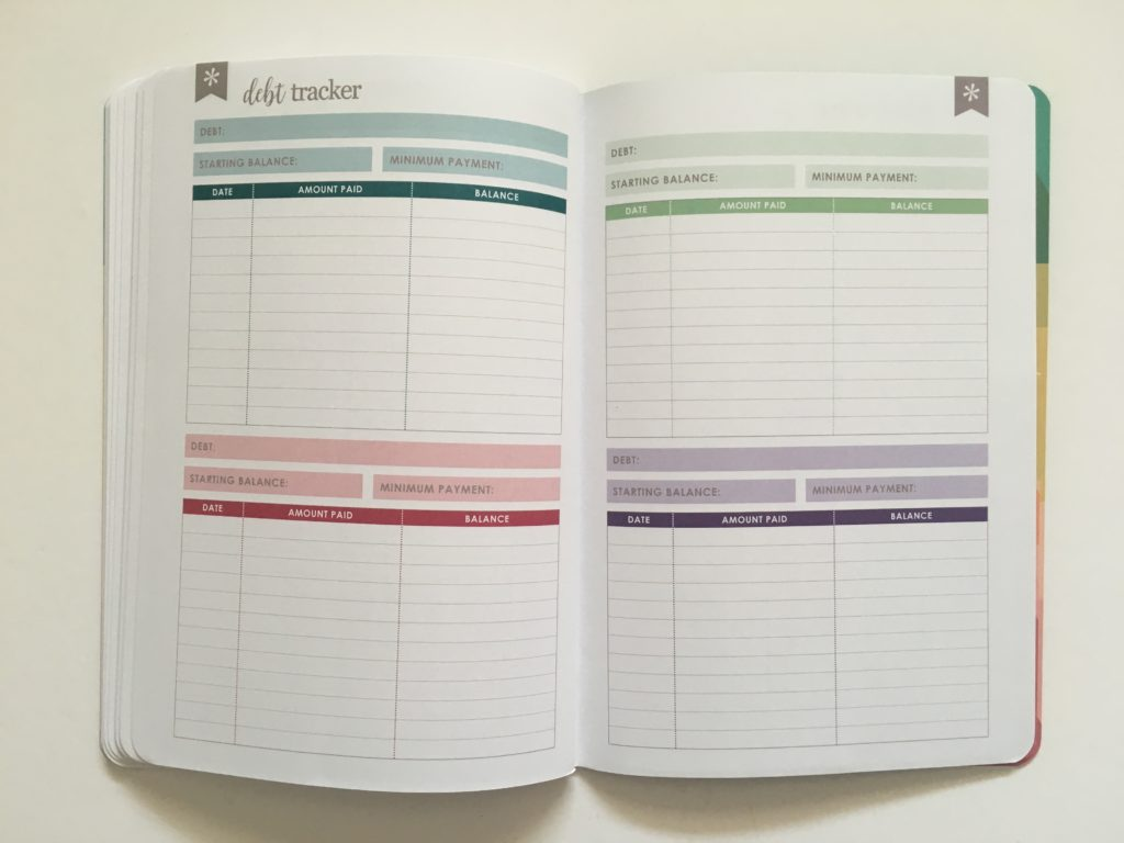 Erin Condren Budget Book Review debt tracker rainbow color coded mortgage car vehicle repayments petite planner