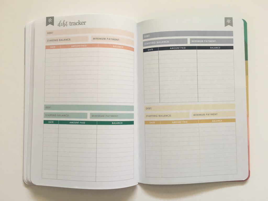 Erin Condren Budget Book Review debt tracker rainbow color coded mortgage car vehicle repayments organizer