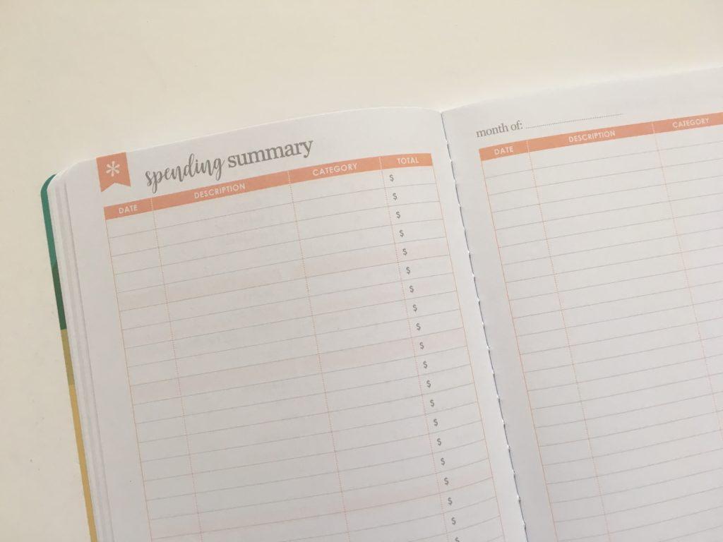 Erin Condren Budget Book Review spending summary expenses log tracker