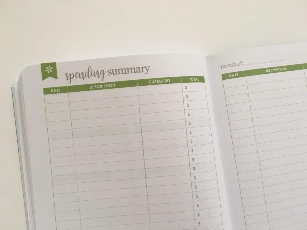 Erin Condren Budget Book Review spending summary green usd