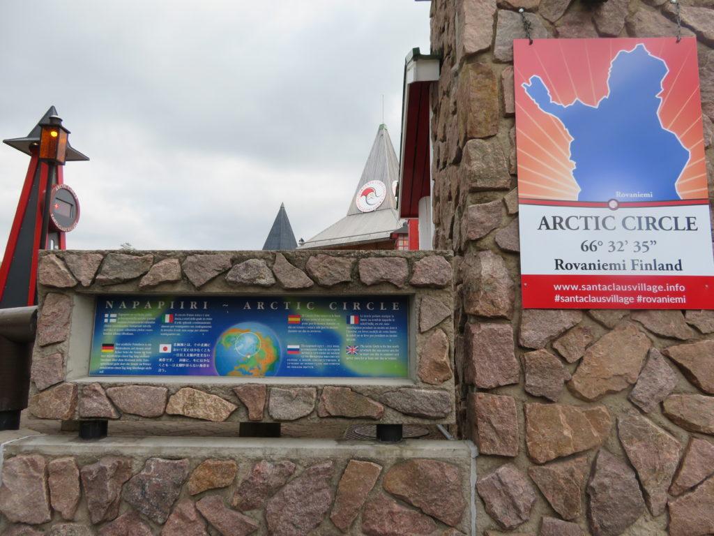 crossing the arctic circle at santa claus village