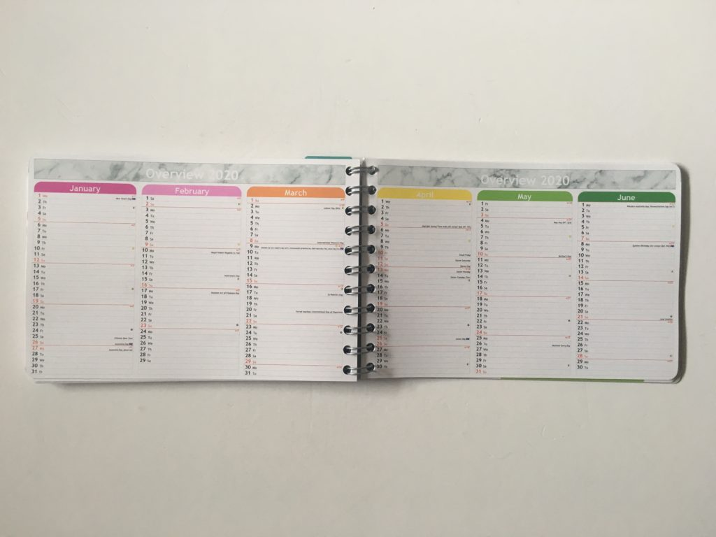 Personal planner weekly planner review annual overview rainbow color coded months vertical list format
