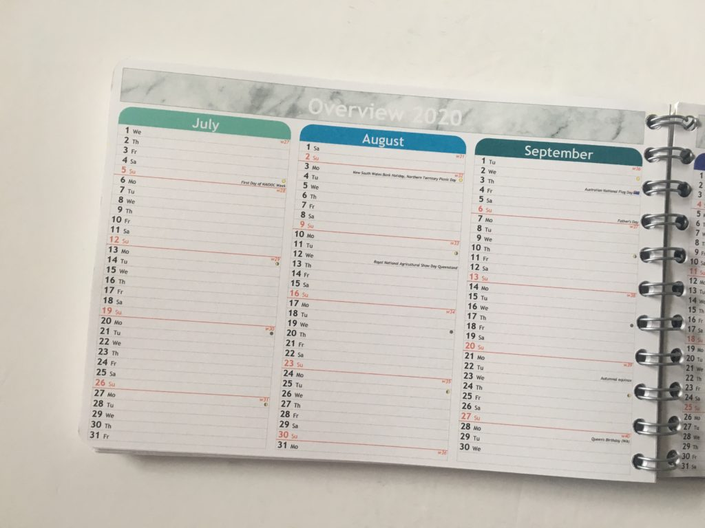 Personal planner weekly planner review color coded months rainbow