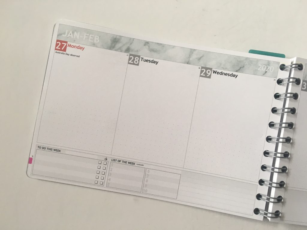 Personal planner weekly planner review monday start weekly spread landscape page orientation custom