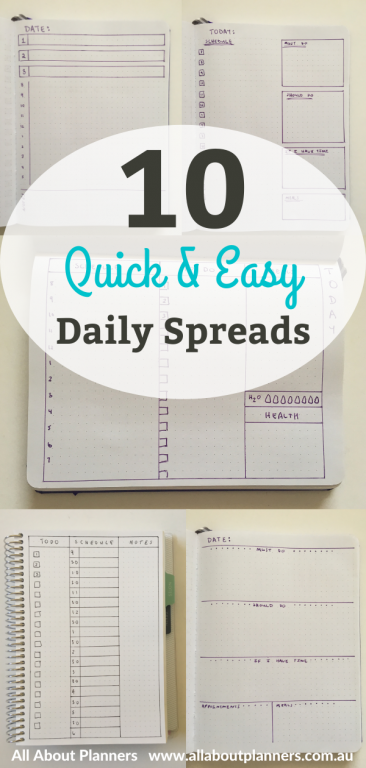 bullet journal daily spreads day to a page simple minimalist inspiration ideas bujo newbie beginner layouts getting started with bullet journaling