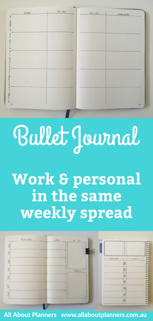 bullet journal weekly spread layout work and personal combined in the same planner inspiration layout ideas tips bujo inspo