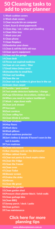 cleaning tasks to add to your planner list of 50 checklist routine tasks by room setting up a new planner weekly planning ideas