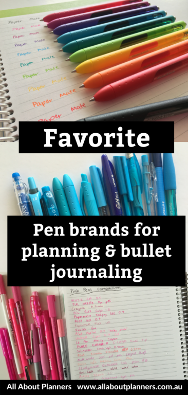 favorite pen brands for planning and bullet journal recommended best fine tip gel ballpoint no bleed through or ghosting swatches papermate pilot stabilo staedtler comparison