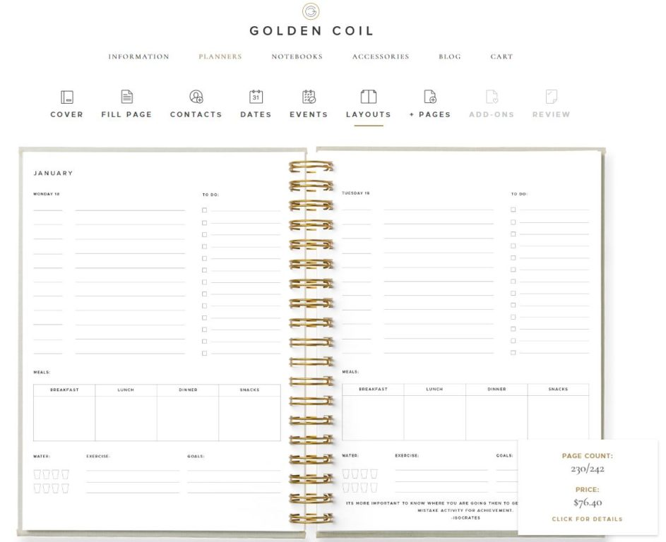golden coil 1 page per day daily planner review checklist monday start