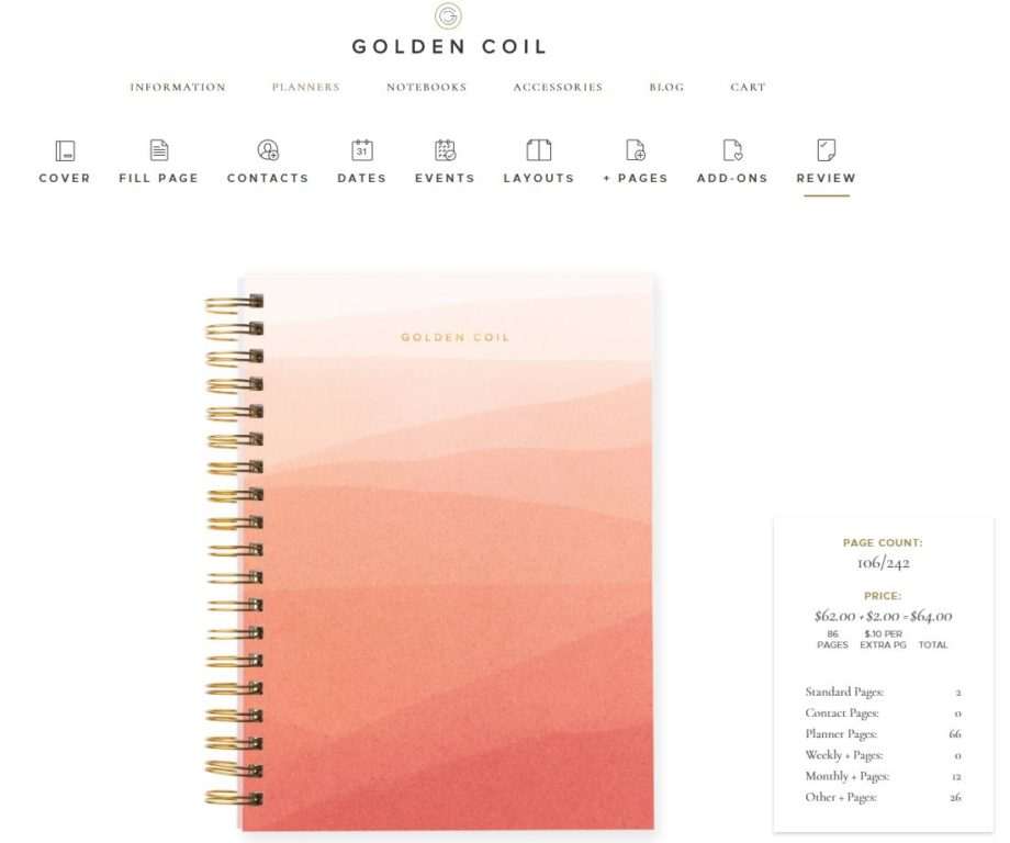 Golden Coil Weekly Planner Review (custom Planner
