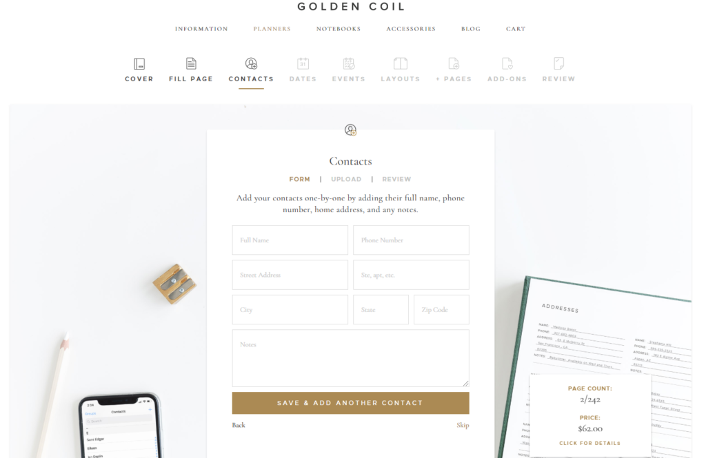 golden coil personalised custom planner ordering process choose page layout extra pages add ons