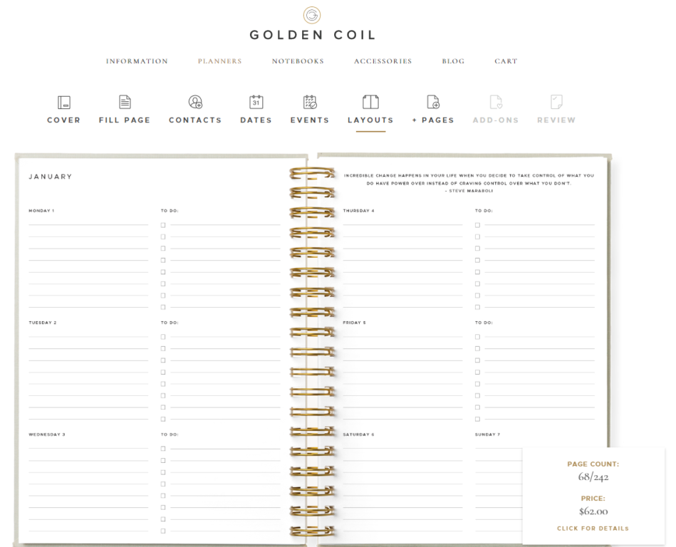 golden coil weekly layout 1 horizontal lined checklist