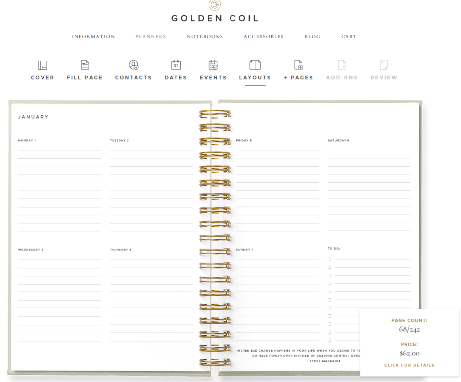 golden coil weekly layout horizontal 4 day per page 2 page spread lined weekly checklist