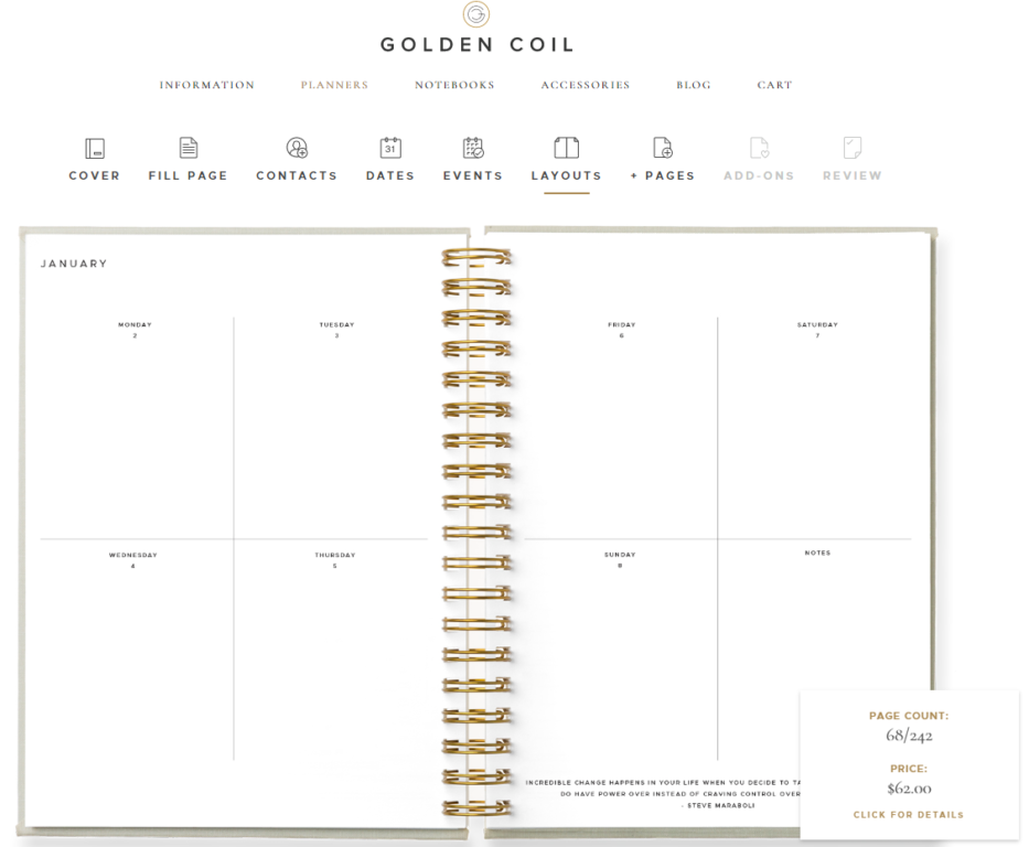 golden coil weekly layout horizontal 4 day per page 2 page spread unlined