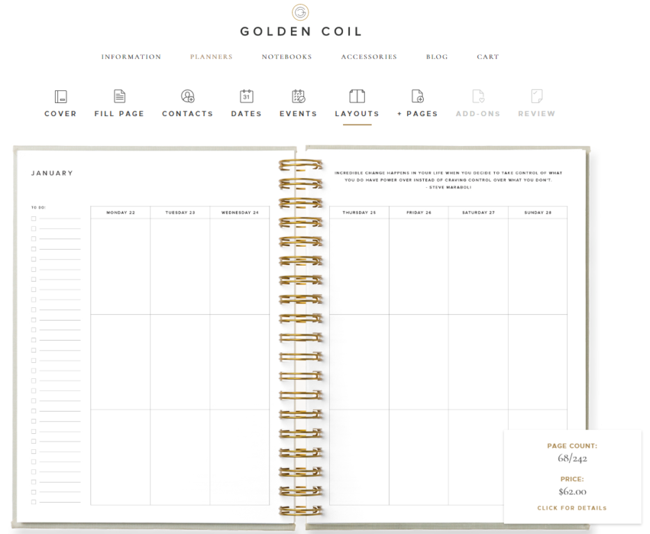 golden coil weekly layout vertical 3 sections per day unlined