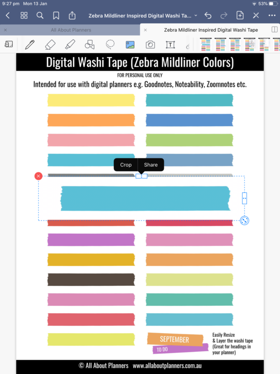 how to clip individual images from a sticker sheet in goodnotes crop tool lasso tool instructions tutorial all about planners digital planning