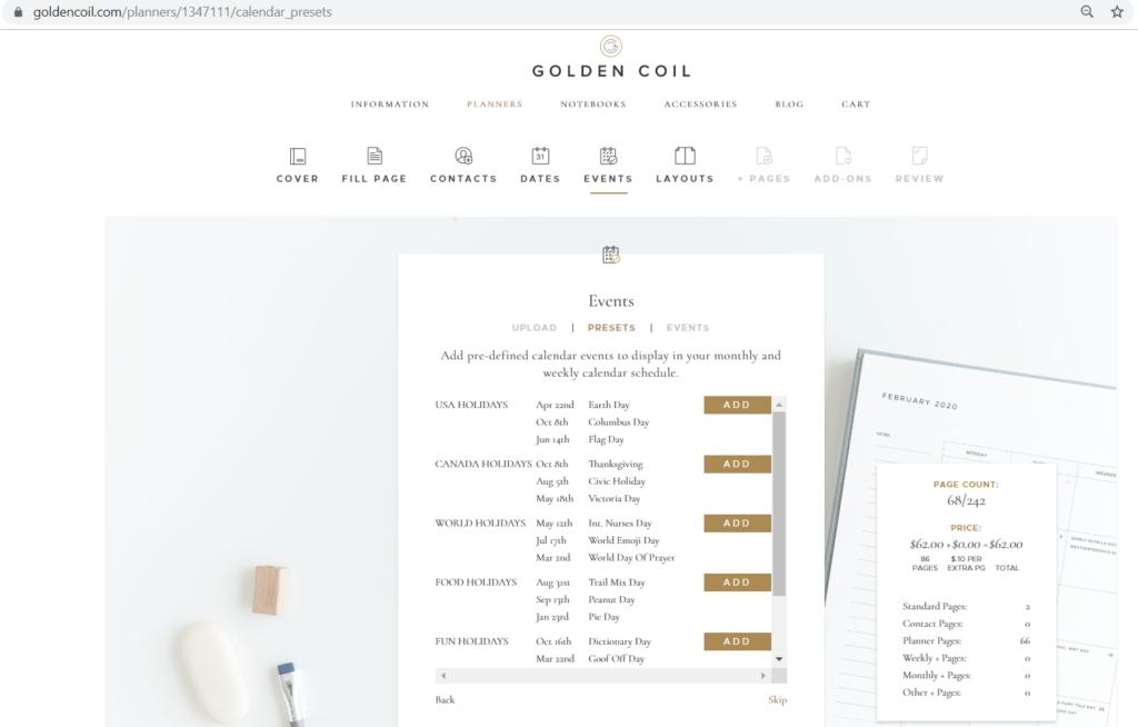 ordering a custom golden coil planner tutorial