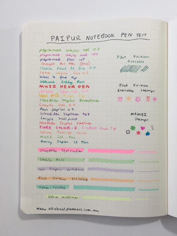 paipur dot grid lined notebook review alternative to traditional bullet journal bujo notebook video flipthrough pen testing_11