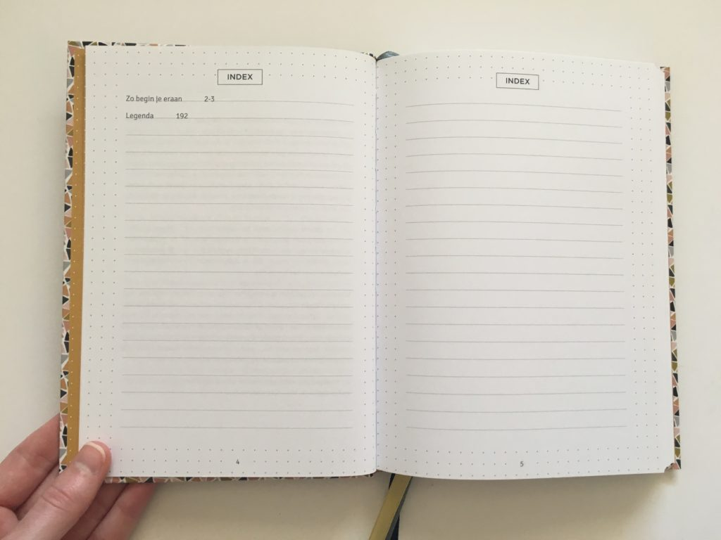 paperstore mujn dot grid notebook for bullet journaling index page contents
