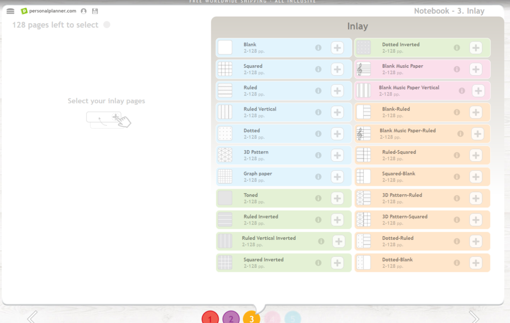 personal planner custom notebook inside page options
