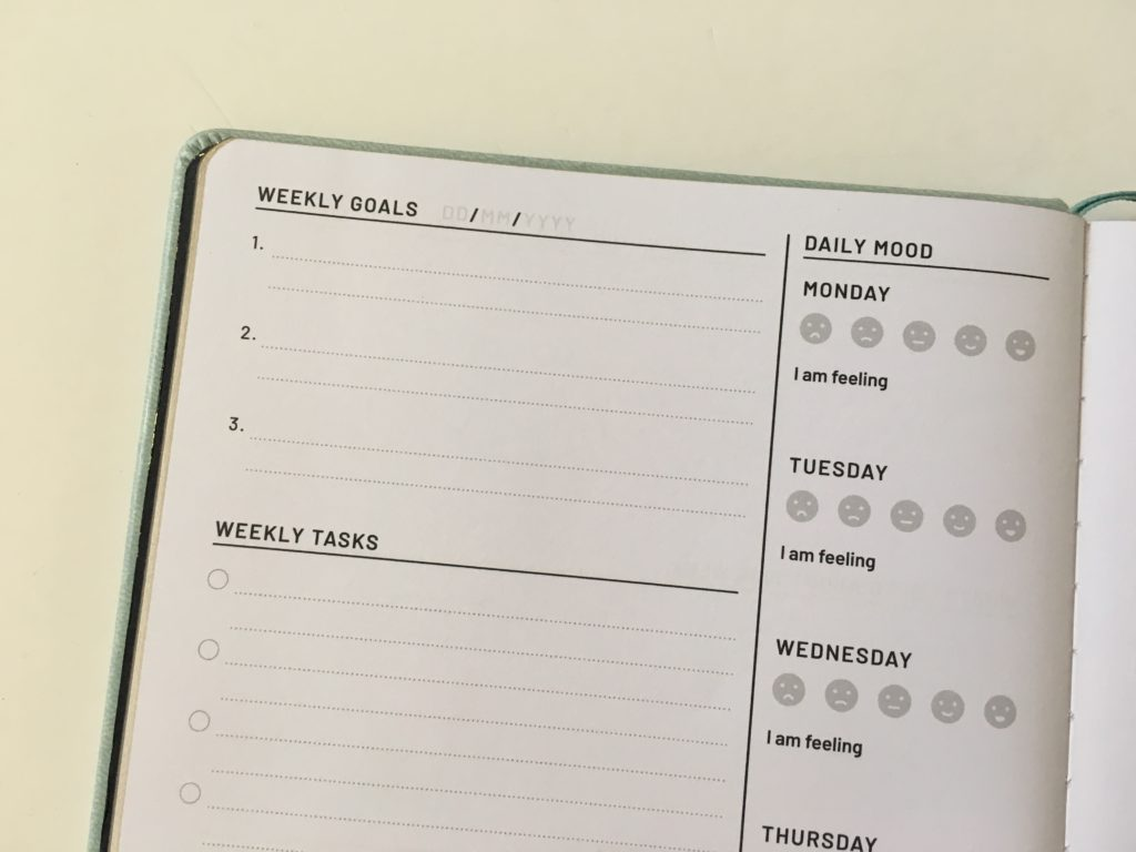 the kind friend journal weekly planner alternative to traditional layout dot grid bright white pages mood tracker checklist weekly habit tracker review questions colorful video flipthrough_05
