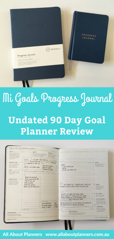 Mi Goals undated 90 day planner review progress journal goal planner lined 2 pages per day daily planner tasks top 3 monthly review questions video flipthrough pen testing australian