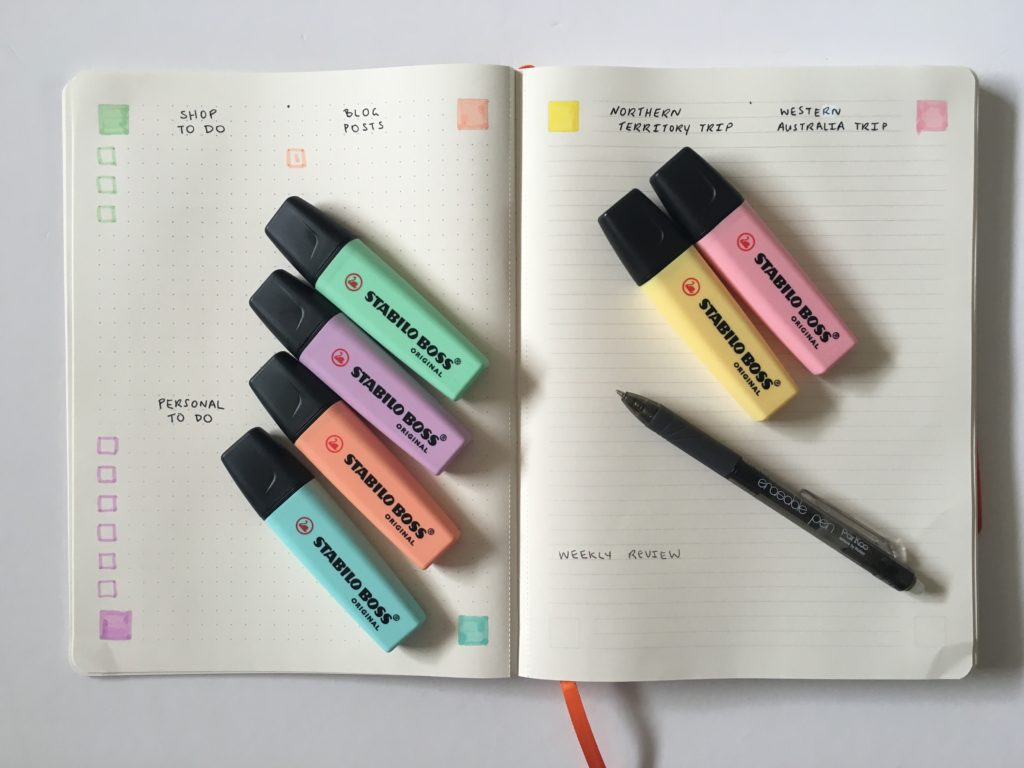 PAIPUR hybrid notebook weekly spread bullet journal dot grid lined notes list maker color coding pastel stabilo boss highlighters_02