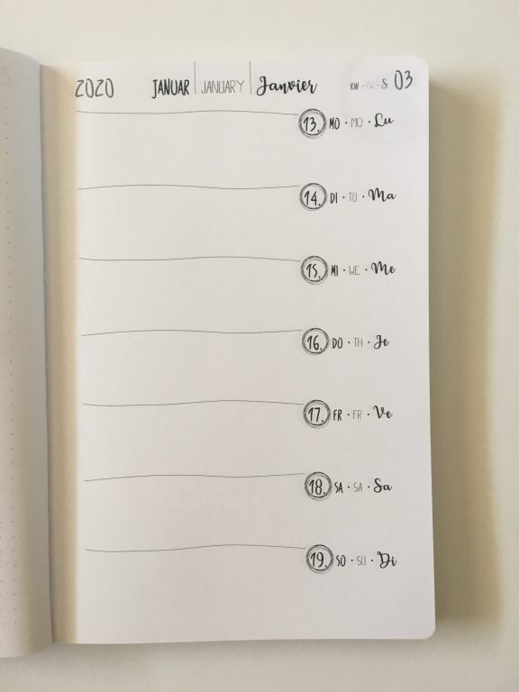 TED online diary agenda planner cross bullet journal horizontal weekly monday start creative decorative minimalist dot grid exam germany_10