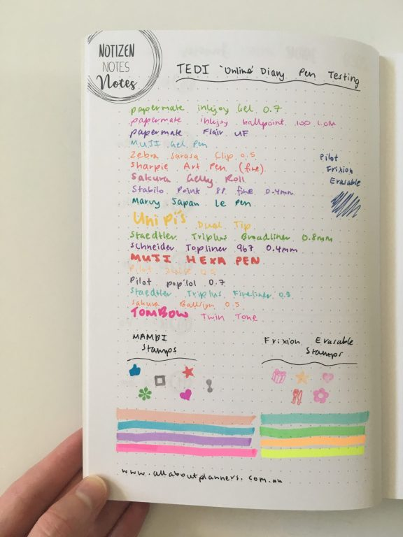TED online diary pen testing paper quality ghosting bleed through planner review - from germany