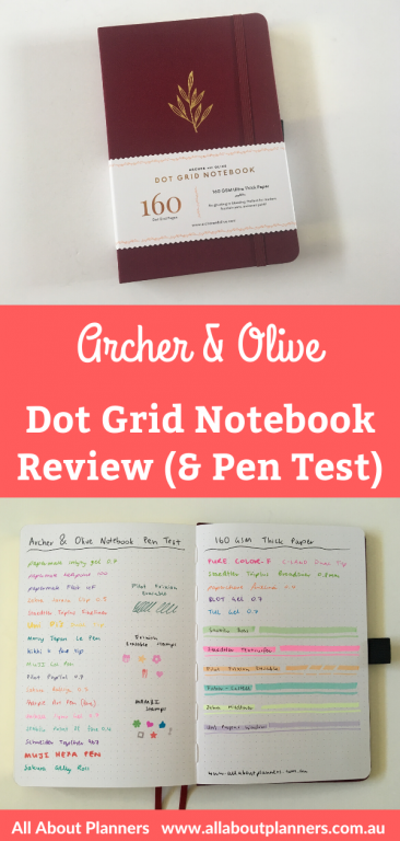 archer and olive dot grid notebook review pros and cons pen testing ghosting bleed through is it worth the hype expensive bright white paper a5 size bullet journal bujo