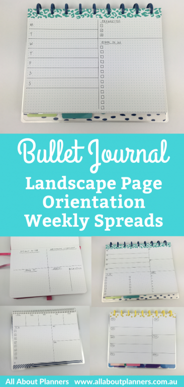 bullet journal landscape page orientation weekly spread ideas inspiration layouts 1 page week monday start non-traditonal mambi discbound