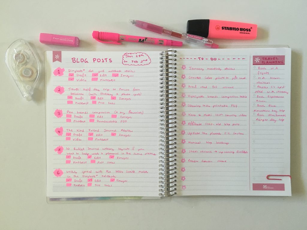 erin condren personalised notebook productivity layout weekly spread pink theme simple quick easy minimalist pilot pop lol stabilo boss highlighter blog travel planning to do categorise