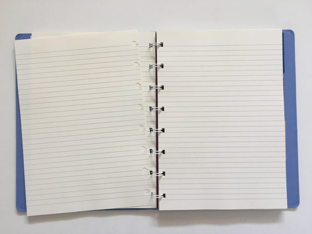 filofax refillable notebook review add remove rearrange pages similar to discound saffiano collection divider tabs lined cream paper pen testing a5 page size_14