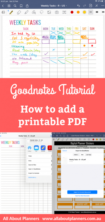 goodnotes digital how to add a printable pdf digital planning tips instructions step by step easy quick using any printable pdf