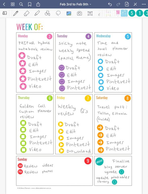 goodnotes digital planner how to use a printable in goodnotes for iPad tips inspiration ideas rainbow weekly_04